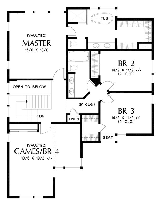 Contemporary Floor Plan - Upper Floor Plan Plan #48-676
