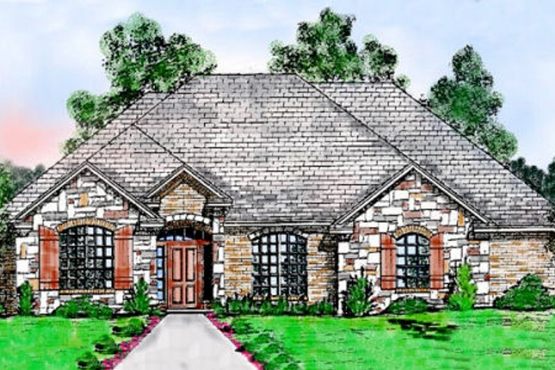 European Style House Plan - 3 Beds 2.5 Baths 3001 Sq/Ft Plan #52-150 Exterior - Front Elevation