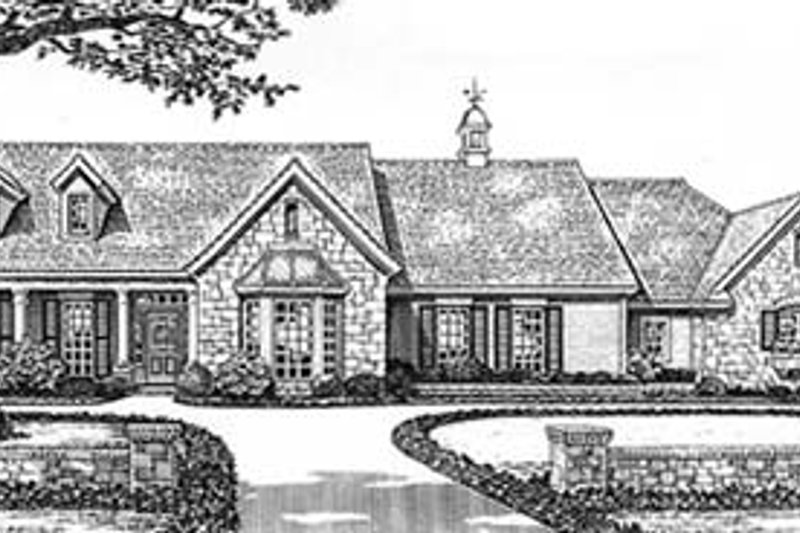 European Style House Plan - 3 Beds 2 Baths 1966 Sq/Ft Plan #310-586 Exterior - Front Elevation