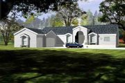 Adobe / Southwestern Style House Plan - 5 Beds 3 Baths 3113 Sq/Ft Plan #1-1099 Exterior - Front Elevation
