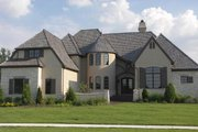 European Style House Plan - 4 Beds 5 Baths 6304 Sq/Ft Plan #458-21 Exterior - Front Elevation