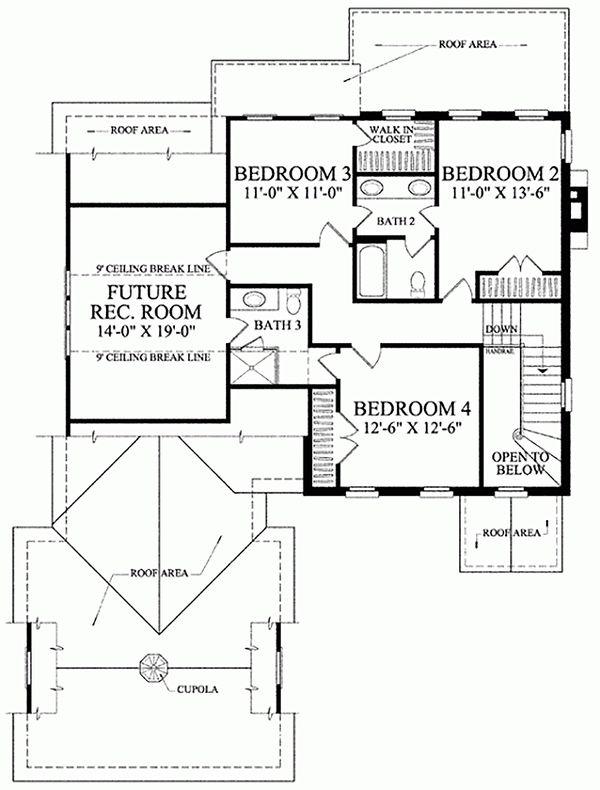 Home Plan - Colonial Floor Plan - Upper Floor Plan #137-187