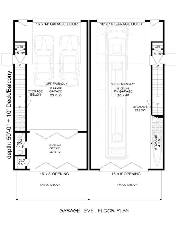 Contemporary Floor Plan - Lower Floor Plan Plan #932-51