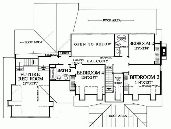 Country Floor Plan - Upper Floor Plan Plan #137-175