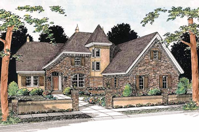 European Exterior - Front Elevation Plan #20-321 - Houseplans.com