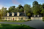 Country Style House Plan - 3 Beds 3 Baths 2593 Sq/Ft Plan #57-641 Exterior - Front Elevation