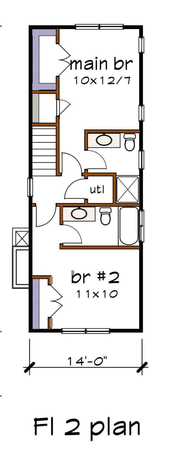 Craftsman Floor Plan - Upper Floor Plan Plan #79-278
