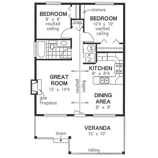 House Blueprint - Cottage Floor Plan - Main Floor Plan #18-1044
