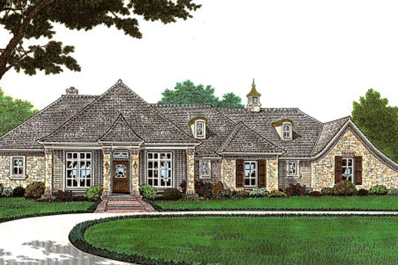 European Style House Plan - 2 Beds 2.5 Baths 1959 Sq/Ft Plan #310-646 Exterior - Front Elevation