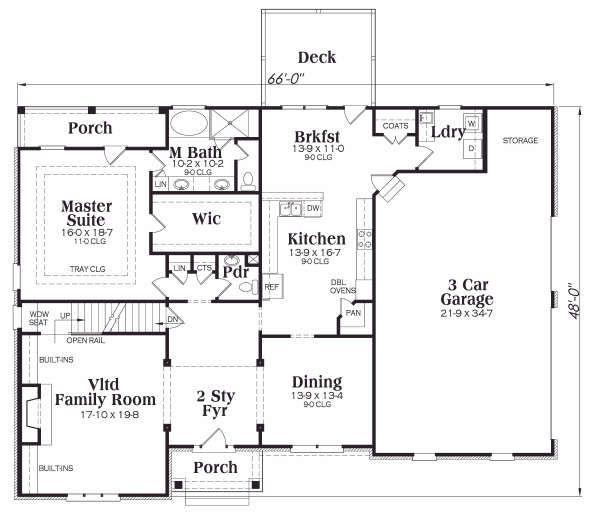 Southern Floor Plan - Main Floor Plan Plan #419-180