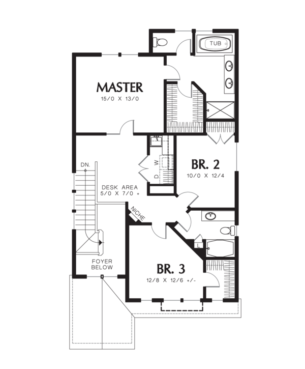 Craftsman Floor Plan - Upper Floor Plan Plan #48-631