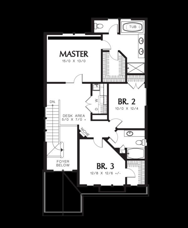 Craftsman Floor Plan - Upper Floor Plan Plan #48-631