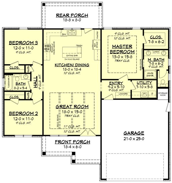Dream House Plan - Farmhouse Floor Plan - Main Floor Plan #430-217