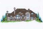 European Style House Plan - 4 Beds 3.5 Baths 3592 Sq/Ft Plan #5-398 Exterior - Front Elevation