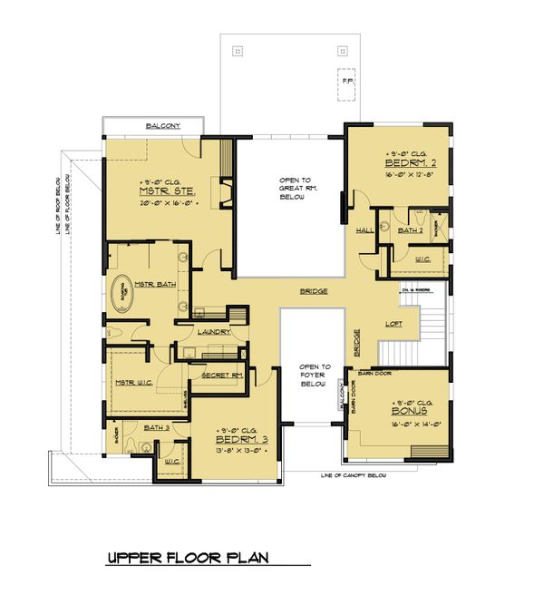 Contemporary Style House Plan - 5 Beds 5.5 Baths 6302 Sq/Ft Plan #1066-56 Floor Plan - Upper Floor Plan