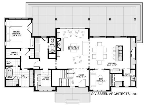 Architectural House Design - Farmhouse Floor Plan - Main Floor Plan #928-306