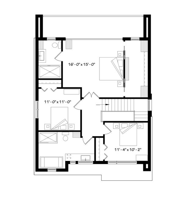 Contemporary Floor Plan - Upper Floor Plan Plan #23-2646