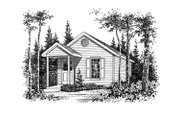 Cottage Style House Plan - 1 Beds 1 Baths 448 Sq/Ft Plan #22-126 Exterior - Other Elevation