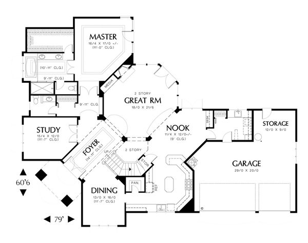 Contemporary Floor Plan - Main Floor Plan Plan #48-346