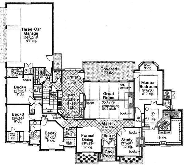Dream House Plan - European Floor Plan - Main Floor Plan #310-678