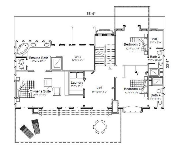 Traditional Floor Plan - Upper Floor Plan Plan #451-29