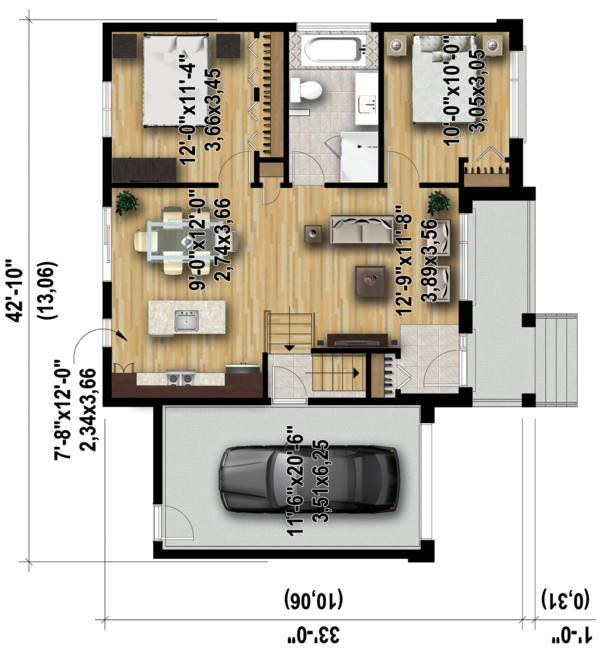 Contemporary Floor Plan - Main Floor Plan Plan #25-4590