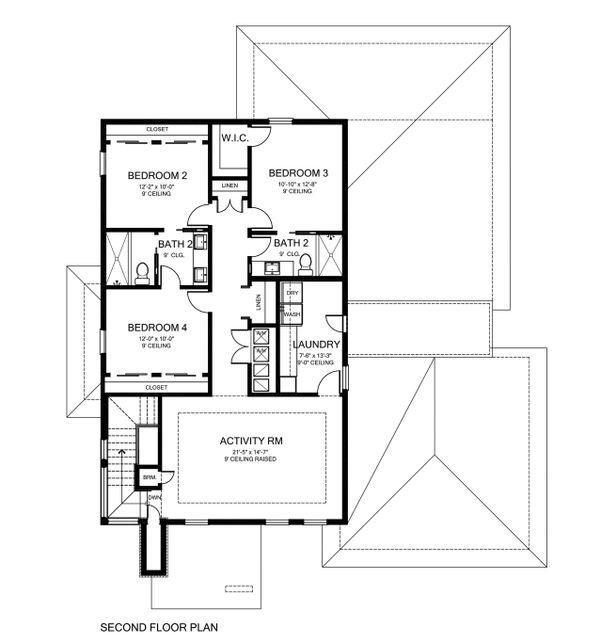 Contemporary Style House Plan - 4 Beds 3.5 Baths 3210 Sq/Ft Plan #1058-180 Floor Plan - Upper Floor Plan