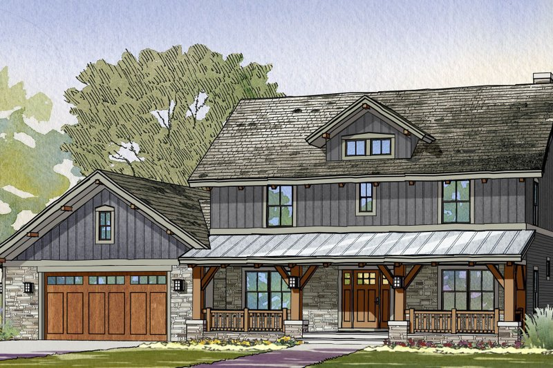 Craftsman Style House Plan - 3 Beds 2.5 Baths 2456 Sq/Ft Plan #901-123 Exterior - Front Elevation