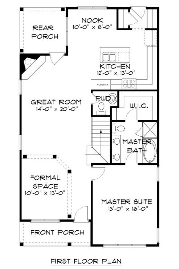 Craftsman Floor Plan - Main Floor Plan Plan #413-872