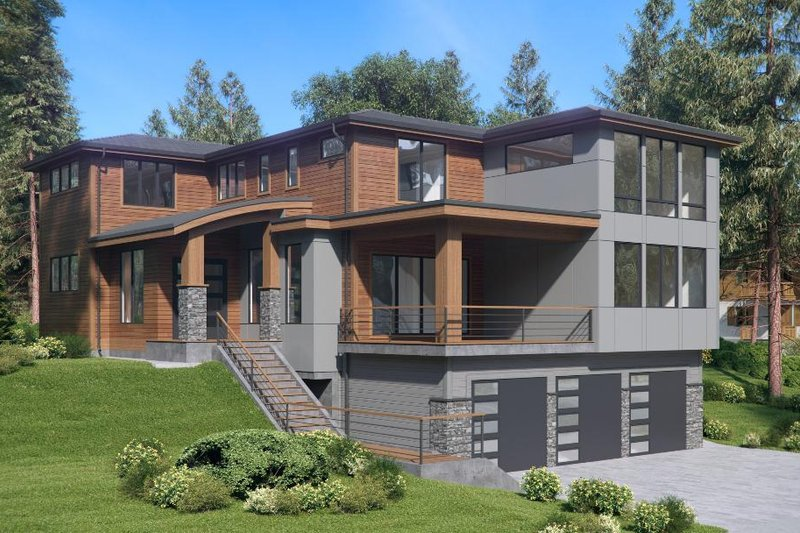 Contemporary Style House Plan - 4 Beds 3 Baths 3980 Sq/Ft Plan #1066-62 Exterior - Other Elevation
