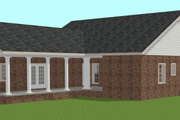 Country Style House Plan - 3 Beds 2 Baths 1716 Sq/Ft Plan #44-196 Exterior - Rear Elevation