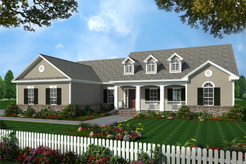 Southern Style House Plan - 3 Beds 2.5 Baths 2019 Sq/Ft Plan #21-135 Exterior - Front Elevation