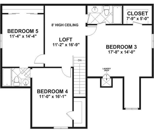 Home Plan - Craftsman Floor Plan - Upper Floor Plan #56-720