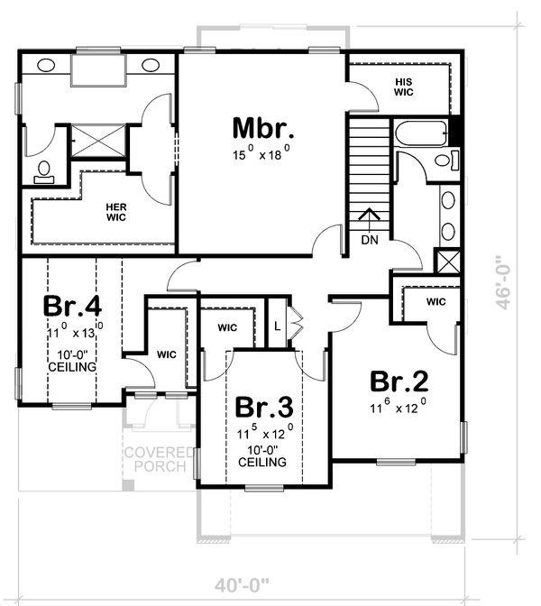 House Plan Design - Bungalow Floor Plan - Upper Floor Plan #20-1770