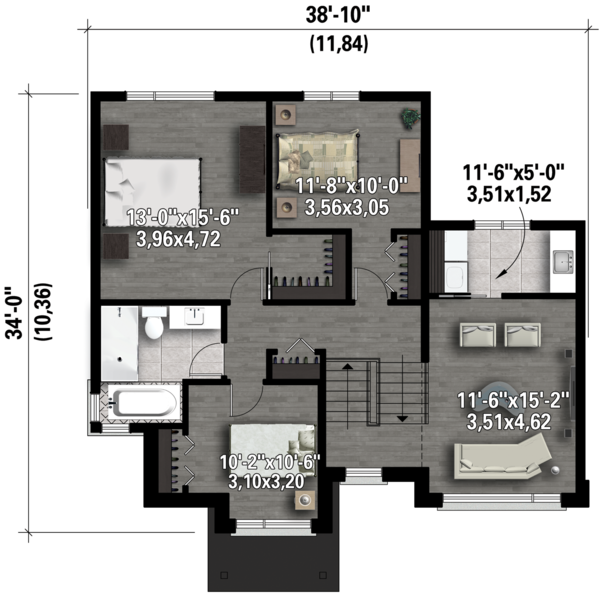 Contemporary Floor Plan - Upper Floor Plan Plan #25-4433