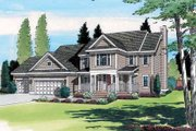 Traditional Style House Plan - 4 Beds 2.5 Baths 2485 Sq/Ft Plan #312-391 Exterior - Front Elevation