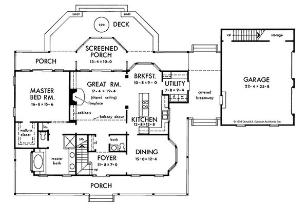 Colonial Floor Plan - Main Floor Plan Plan #929-50