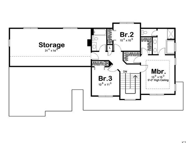 Traditional Floor Plan - Upper Floor Plan Plan #455-1