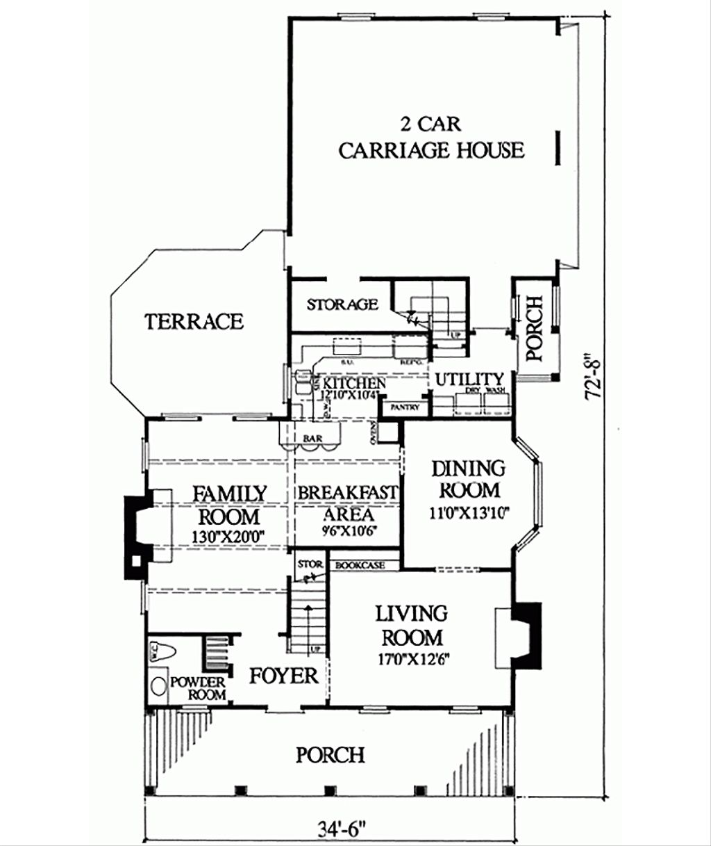 Colonial Style House Plan 3 Beds 2 Baths 2044 Sq Ft Plan