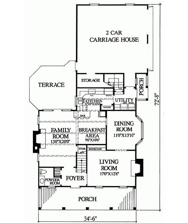 Colonial Floor Plan - Main Floor Plan Plan #137-241