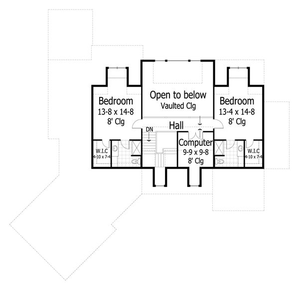 Traditional Floor Plan - Upper Floor Plan Plan #51-436