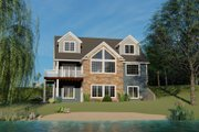 Beach Style House Plan - 3 Beds 2.5 Baths 2038 Sq/Ft Plan #1064-27 Exterior - Rear Elevation
