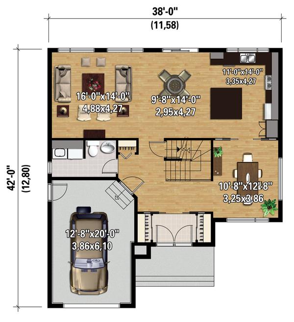 Contemporary Floor Plan - Main Floor Plan Plan #25-4348