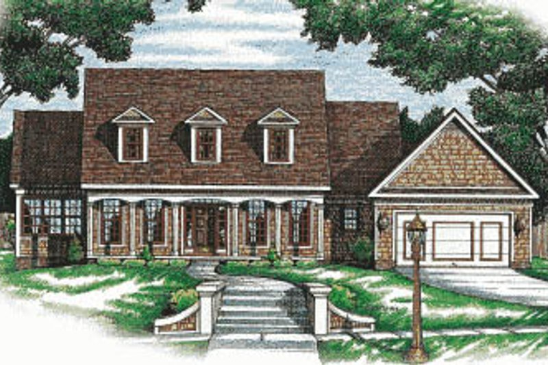 Colonial Exterior - Front Elevation Plan #20-105