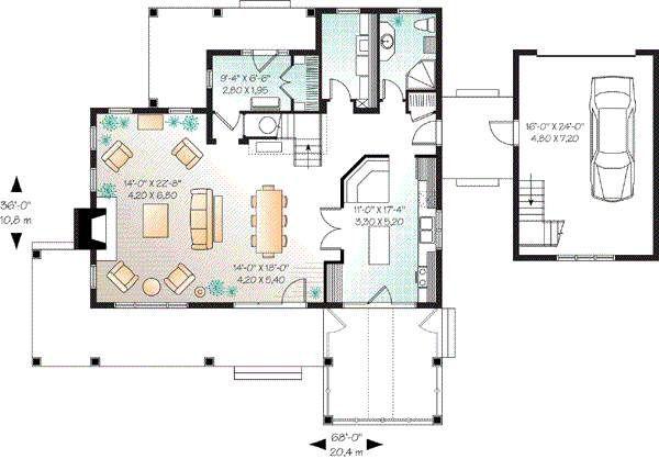 House Plan Design - Farmhouse Floor Plan - Main Floor Plan #23-877