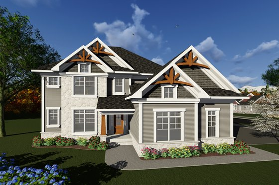Craftsman Exterior - Front Elevation Plan #70-1278