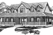 Traditional Style House Plan - 4 Beds 3.5 Baths 3141 Sq/Ft Plan #47-222 Exterior - Front Elevation