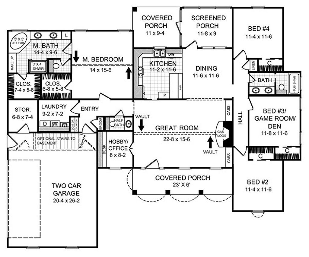 Country style house plan 4 beds 2 5 baths 2000 sq ft for Www eplans com