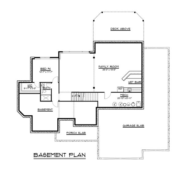 Craftsman Floor Plan - Lower Floor Plan Plan #1064-29