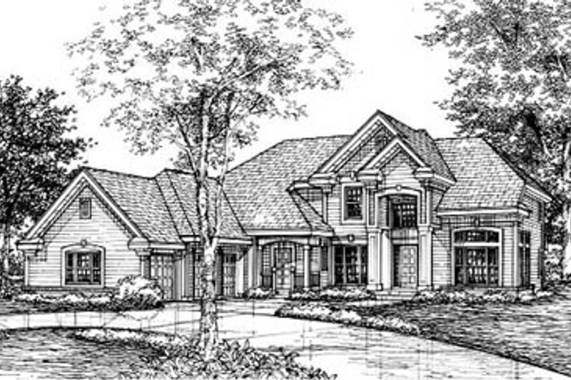 Traditional Style House Plan - 5 Beds 3.5 Baths 3469 Sq/Ft Plan #50-146 Exterior - Front Elevation